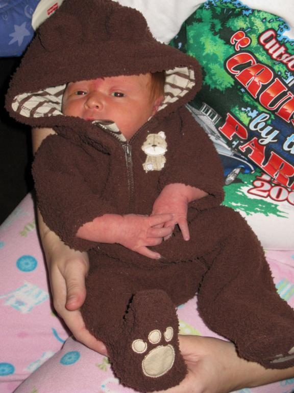 in his bear outfit!
